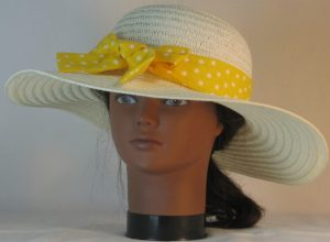 Floppy Hat Band in White Polka Dots on Yellow - front