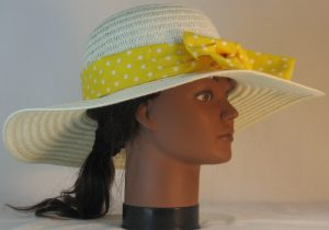 Floppy Hat Band in White Polka Dots on Yellow - right