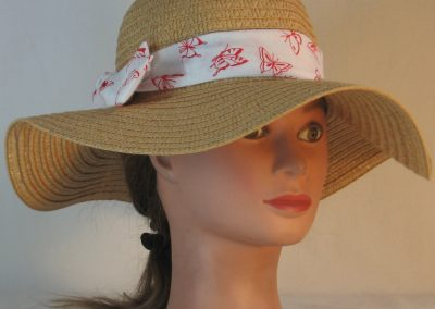 Floppy Hat Band in Red Butterflies on White - front