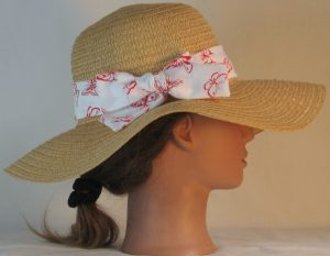 Floppy Hat Band in Red Butterflies on White - right