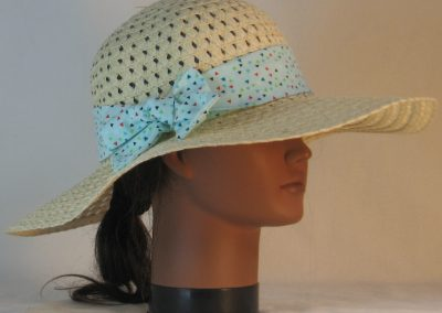 Floppy Hat Band in Triangles on Pale Aqua - right