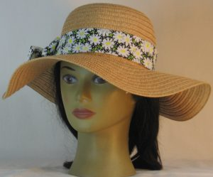 Floppy Hat Band in White Daisy and Dots on Black - front