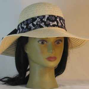 Floppy Hat Band in Dog Bones Paws on Black Ties Black - front