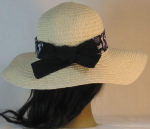 Floppy Hat Band in Dog Bones Paws on Black Ties Black - back