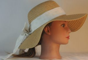 Floppy Hat Band in Pressed Circles on Cream - right