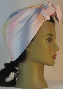 Head Wrap in Pink Tan Blue White Band Crinkle Rayon - right