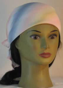 Head Wrap in Pink Tan Blue White Band Crinkle Rayon - front