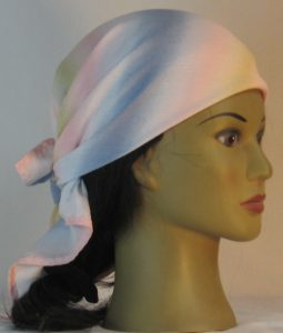Head Wrap in Pink Tan Blue White Band Crinkle Rayon - right alt