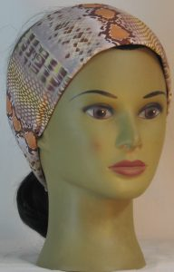 Headband in Snake Stripe in Brown Sanded Tricot - front right