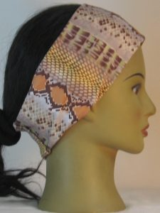 Headband in Snake Stripe in Brown Sanded Tricot - right