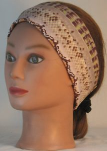 Headband in Snake Stripe in Brown Sanded Tricot - front left