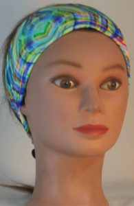 Headband in Love Maze in Green Yellow Blue - front