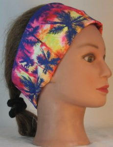 Headband in Navy Palm Trees on Pink Orange Lime - right
