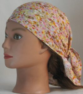 Head Wrap in Pink Yellow Tan Floral on White Crinkle Rayon - left
