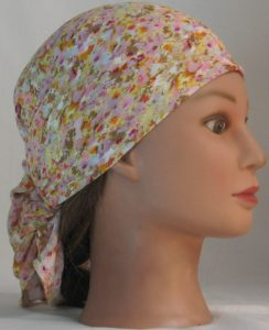 Head Wrap in Pink Yellow Tan Floral on White Crinkle Rayon - right