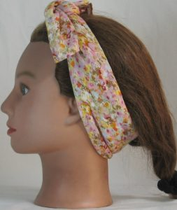 Head Wrap in Pink Yellow Tan Floral on White Crinkle Rayon - left tied