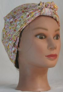 Head Wrap in Pink Yellow Tan Floral on White Crinkle Rayon - front right alt