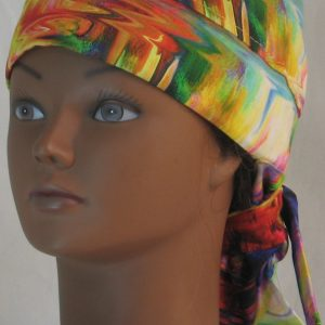 Hair Bag Do Rag in Rainbow White Swirled Streaks - front left