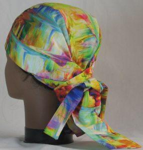 Hair Bag Do Rag in Rainbow White Swirled Streaks - back left