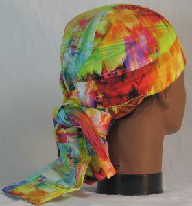 Hair Bag Do Rag in Rainbow White Swirled Streaks - back right