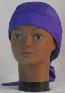 Hair Bag Do Rag in Purple Crushed Polyester - front