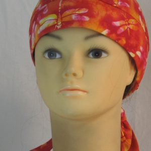 Hair Bag Do Rag in Red Orange White Dragonfly Batik - front