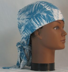 Hair Bag Do Rag in Turquoise White Frondy Palm Leaves - right