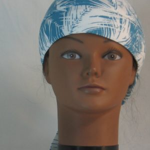 Hair Bag Do Rag in Turquoise White Frondy Palm Leaves - front