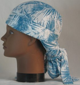 Hair Bag Do Rag in Turquoise White Frondy Palm Leaves - left