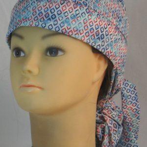 Hair Bag Do Rag in Blue Turquoise Red Diamond on Blue White Tie Dye - front left