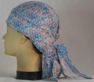 Hair Bag Do Rag in Blue Turquoise Red Diamond on Blue White Tie Dye - left