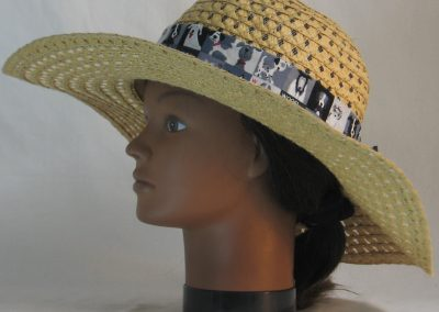 Floppy Hat Band in Gray Black White Dogs on Squares Ties White - left