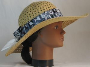 Floppy Hat Band in Gray Black White Dogs on Squares Ties White - right