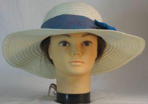 Floppy Hat Band Turquoise Pink Lavender Ripple Spirals Batik Ties Oasis Blue - front