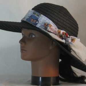 Floppy Hat Band in Bicycle Car Flag on Blue Ties Gray - left