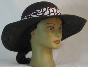 Floppy Hat Band in Red White Black Roses Ties White - front right