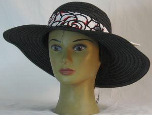 Floppy Hat Band in Red White Black Roses Ties White - front left