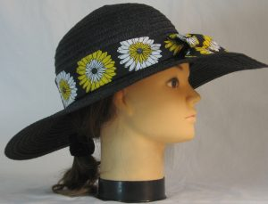 Floppy Hat Band in Yellow White Flowers on Black - right