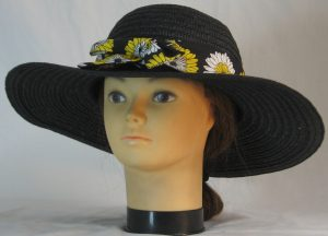 Floppy Hat Band in Yellow White Flowers on Black - front