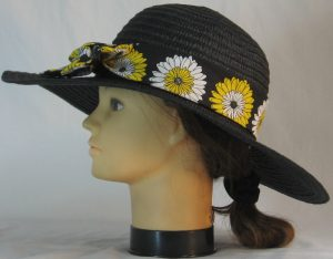 Floppy Hat Band in Yellow White Flowers on Black - left