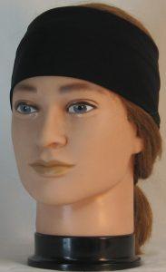 Headband in Black Eyelete Super-Mesh - front