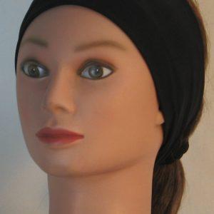 Headband in Black High Performance Spandex - front