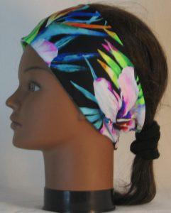 Headband in Tropical Joy Flowers on Black - left