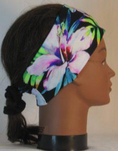 Headband in Tropical Joy Flowers on Black - right