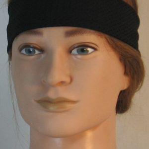 Headband in Black Eyelete Super-Mesh in Narrow - front