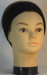 Headband in Black Eyelete Super-Mesh in Narrow - front alt