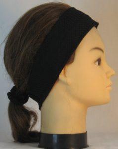Headband in Black Eyelete Super-Mesh in Narrow - right