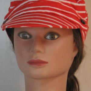 Fisherman Cap in White Stripe Marks on Red - front
