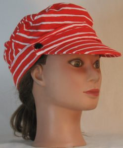 Fisherman Cap in White Stripe Marks on Red - right