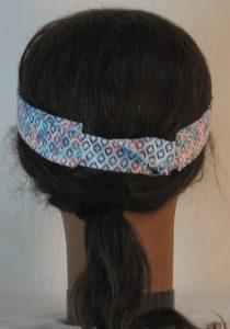 Visor in Blue Turquoise Red Diamond on Blue White Tie Dye - back